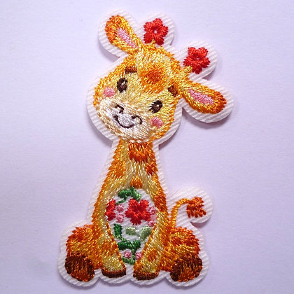Embroidered Motif :: Red Flowers :: Giraffe