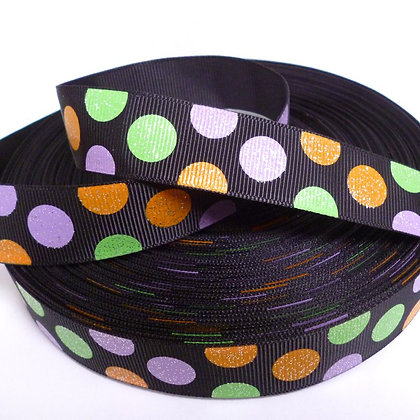 Glittered Grosgrain Ribbon :: Halloween Dot Black