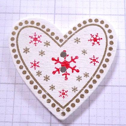 Wooden Button :: Snowflake Heart