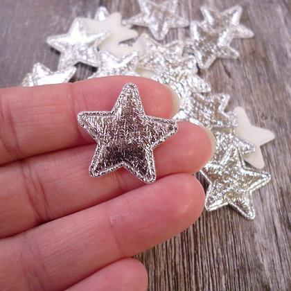 Textured Metallic Stars :: Medium :: Silver