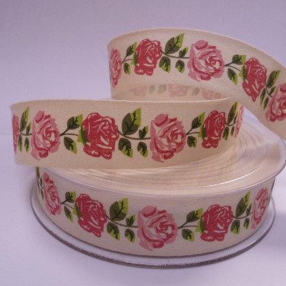 Cotton Chintz Roses Ribbon