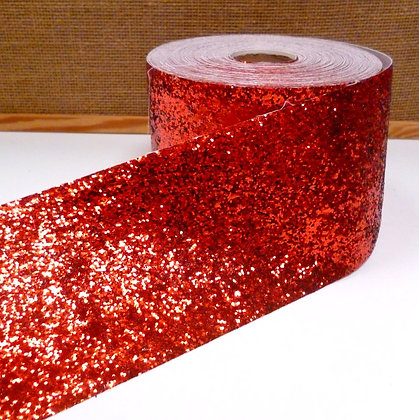 Chunky Glitter Ribbon :: 10cm Wide (by the m) :: Red