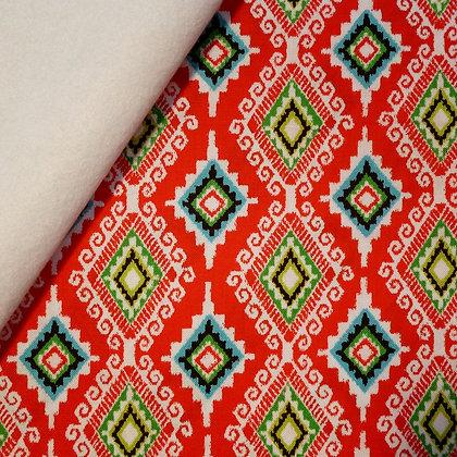 Fabric Felt :: Llama Christmas :: Navidad (red diamonds) on White