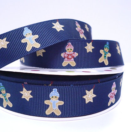 Christmas Grosgrain Ribbon :: Gingerbread Navy