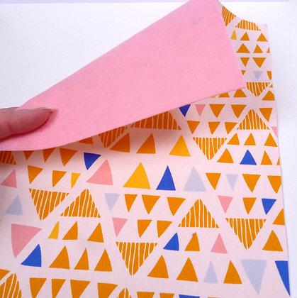 Fabric Felt :: Yellow Triangles & Baby Pink