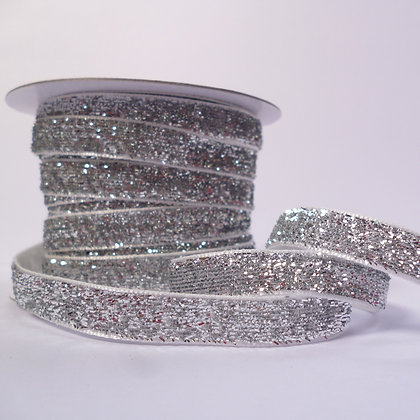 10mm Glitter Velvet Ribbon :: Silver on White