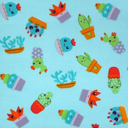 Fabric :: Wide :: Cute Cactus on Blue