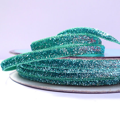 5mm Glitter Velvet Ribbon :: Bright Turquoise
