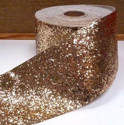 Chunky Glitter Ribbon :: 10cm Wide (by the m) :: Gold