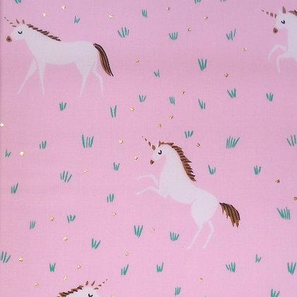 Fabric :: Wide Pastel Metallics :: Unicorn & Dots