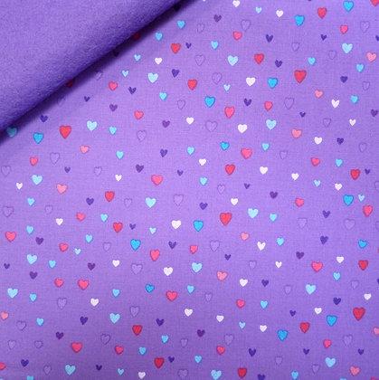 Fabric Felt :: Unicorn Kisses :: Purple Hearts on Purple