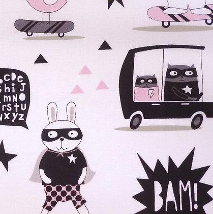 Fabric :: Little Super Hero :: Animal Bam
