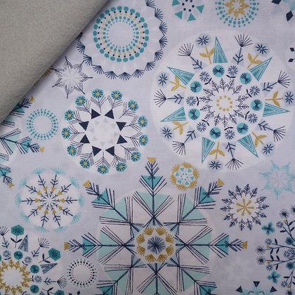 Fabric Felt :: Skogen :: Icy Snowflake on Silver Grey