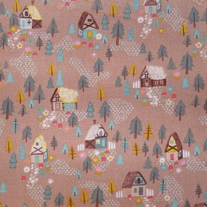 Fabric :: Goldilocks :: Brown Forest Houses