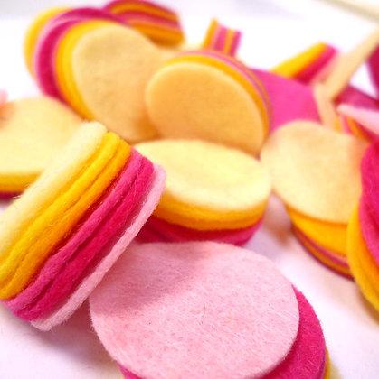 """Die Cut Pack :: 1"""" circles :: Rhubarb & Custard"""