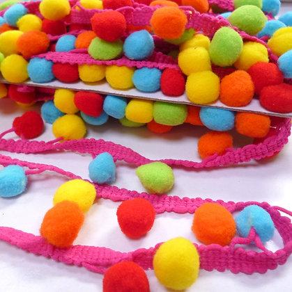 Large Pom Pom Trim :: Multi Colour :: Bright