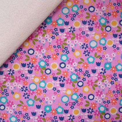 Fabric Felt :: Pink Flower Drift Flowers on Natural