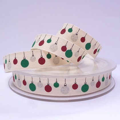 Cotton Christmas Ribbon :: Glitter Baubles
