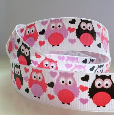 Cute Grosgrain Ribbon :: Love Heart Owls