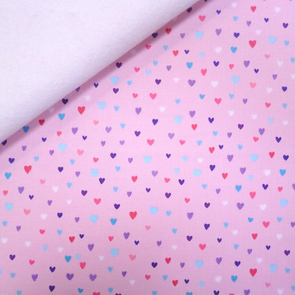 Fabric Felt :: Unicorn Kisses :: Pink Hearts on White