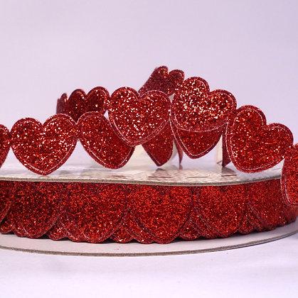 Glitter Heart Trim :: Red