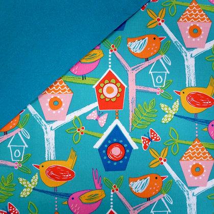 Fabric Felt :: Secret Garden Bird Houses on Teal LAST FEW