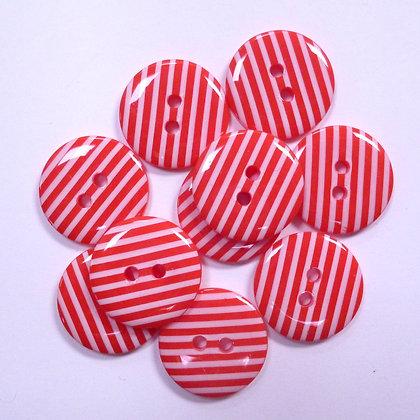 Medium Stripe Button :: Red