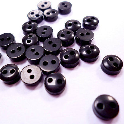 Pack of BLACK 6mm Tiny Round Buttons