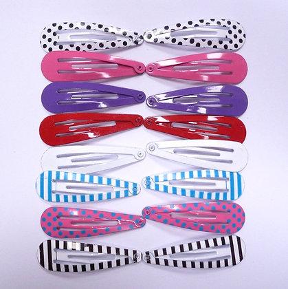 Colourful Hair Clips (x16) :: Dots & Stripes Mix