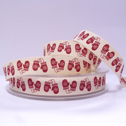 Cotton Christmas Ribbon :: Red Mittens
