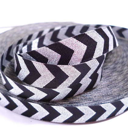 Embroidered Ribbon :: Silver Chevron