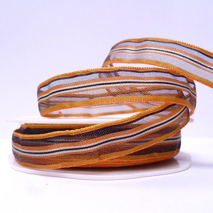 Sheer Stripe Ribbon :: Orange & Brown