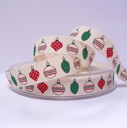Cotton Christmas Ribbon :: Red & Green Baubles
