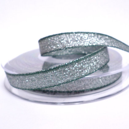 Woven Glitter Ribbon :: Green & Silver
