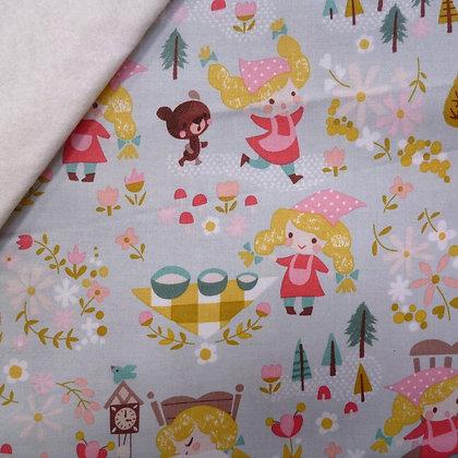 Fabric Felt :: Goldilocks :: Teal Three Bears on Natural