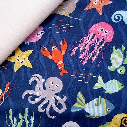 Fabric Felt :: Sea Buddies :: Deep Blue Sea on Natural
