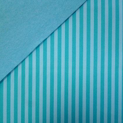 Fabric Felt :: Clown Stripe Turquoise on Turquoise