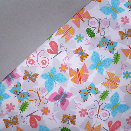 Fabric Felt :: Jump Into Fun Butterflies on Silver Grey