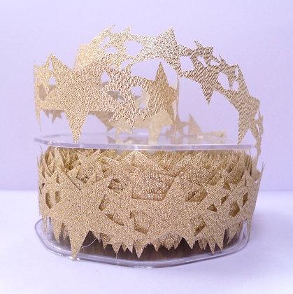 Cut Out Ribbon :: Gold Multi-Stars (not padded) per m