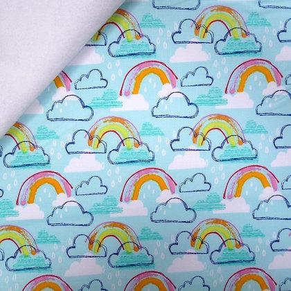 Fabric Felt :: Rainbow Jubilee :: Sky Blue Rainbows on White LAST FEW