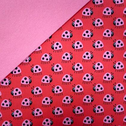 Fabric Felt :: Copenhagen Ladybirds (pink on red) on Pink