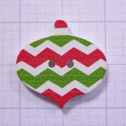 Wooden Bauble Button :: Christmas Chevron