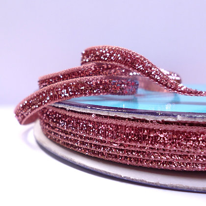 5mm Glitter Velvet Ribbon :: Metallic Blush