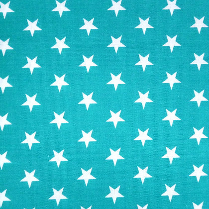 Fabric :: Wide :: White Stars on Teal