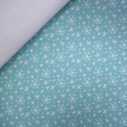 Fabric Felt :: Snowlandia Blizzard :: Turquoise on White