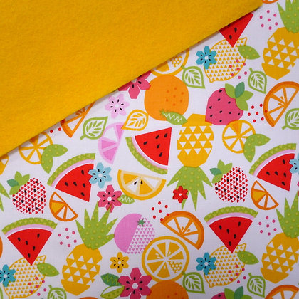 Fabric Felt :: Fresh Market Fruit Mix on Yellow LAST FEW