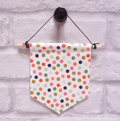 MINI Handmade banner :: fabric felt :: on trend natural dots