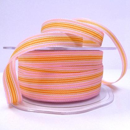 "3/8"" Stripe Ribbon :: Pale Pink & Mustard"