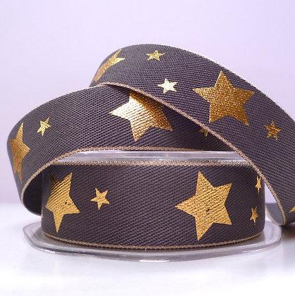 Gold Star on Denim Ribbon :: GREY