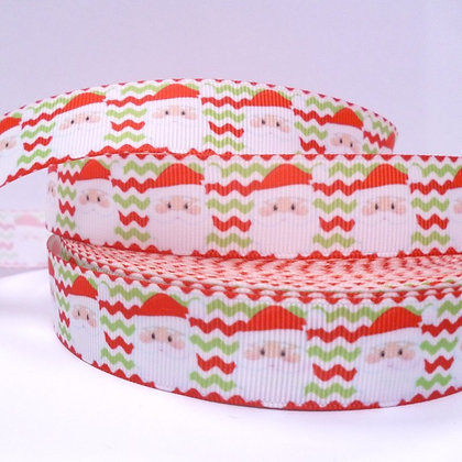 Christmas Grosgrain Ribbon :: Santa on Chevrons